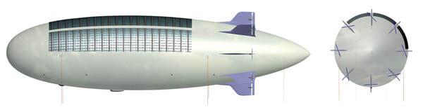 Дирижабль с энергоснабжением от солнечных батарей
