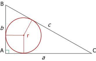 Рис. 12. Прямоугольный треугольник и вписанная окружность