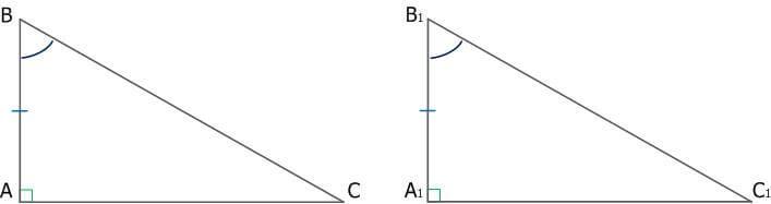 Рис. 3. Равенство прямоугольных треугольников по катету и прилежащему углу
