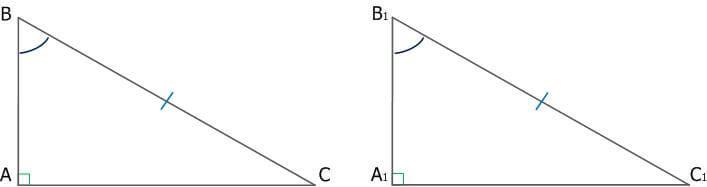 Рис. 4. Равенство прямоугольных треугольников по гипотенузе и острому углу