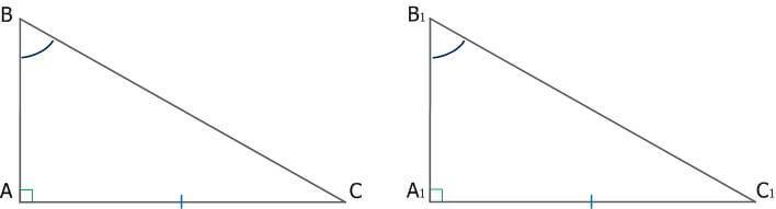 Рис. 6. Равенство прямоугольных треугольников по катету и противолежащему острому углу