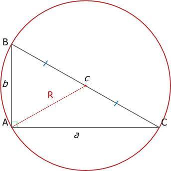 Рис. 9. Прямоугольный треугольник и описанная окружность