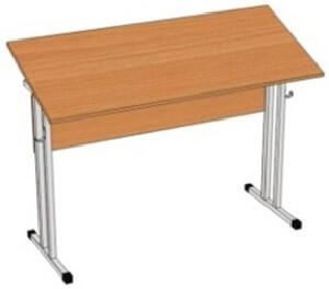 Стол ученический, двухместный, с регулируемым углом наклона столешницы
